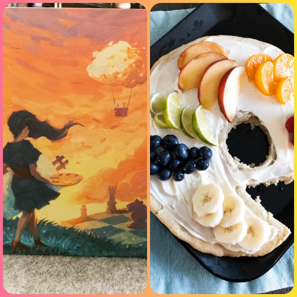 Image is of Board Game Brunch - Canvas and Fruit Pizza