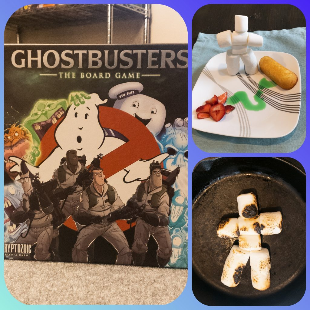 Image is of the box art for Ghostbusters Board Game, the burnt Stay Puff Marshmallow Man, and a Plate with the Stay Puff Marshmallow Man, Strawberries, and Twinkies with green slime