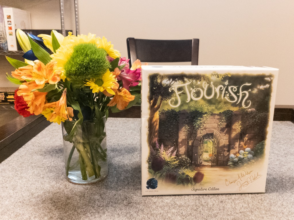 Flourish game box and vase of assorted flowers