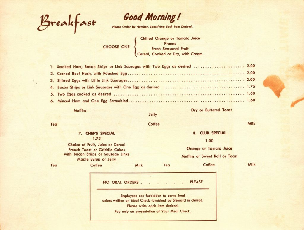 image is of 1963 train menu from Atlas Obscura website
