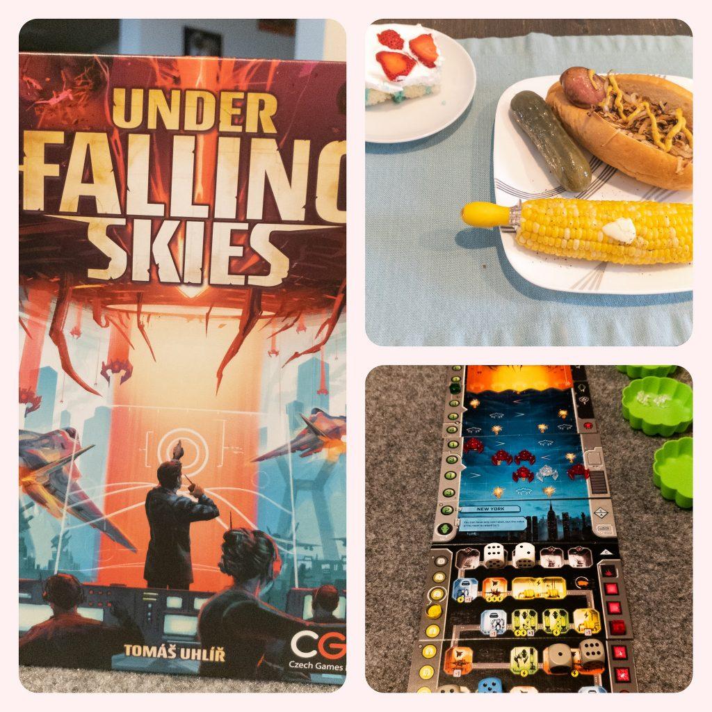 Image is of Under Falling Skies game box, brat and corn on the cob, and Under Falling Skies game play