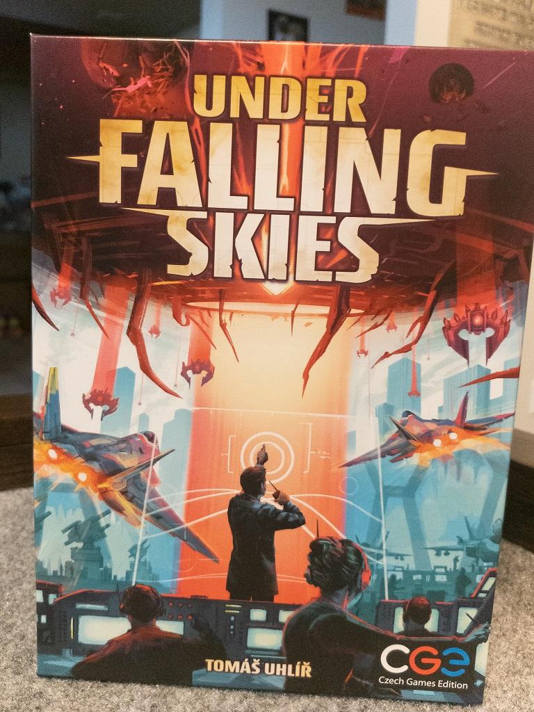 Image is of Under Falling Skies Game Box