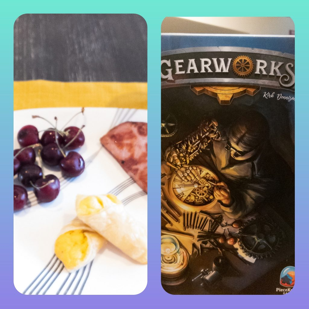 Image of Board Game Brunch food and Gearworks box