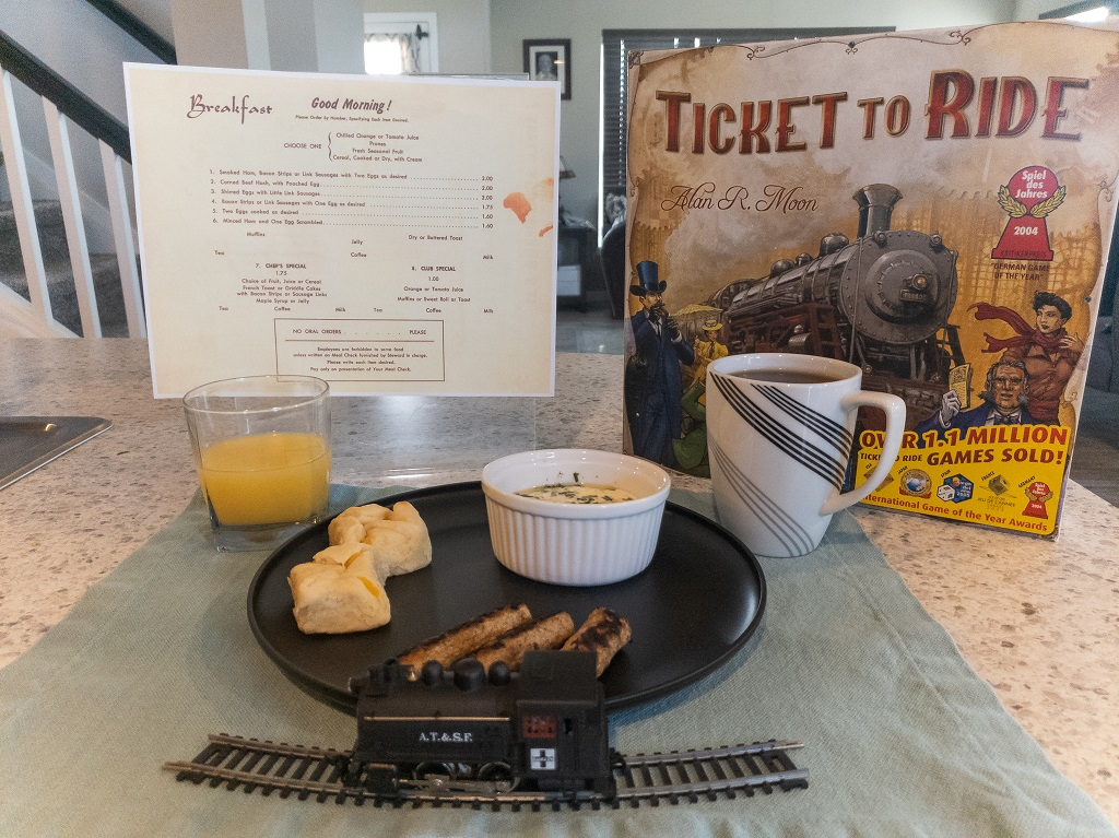 Board Game Brunch: Train Breakfast and Menu and Ticket to Ride game box