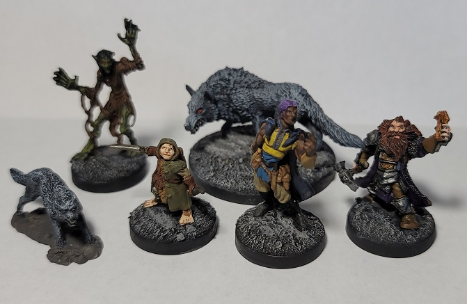 Image is of more D&D adventurers and wolves