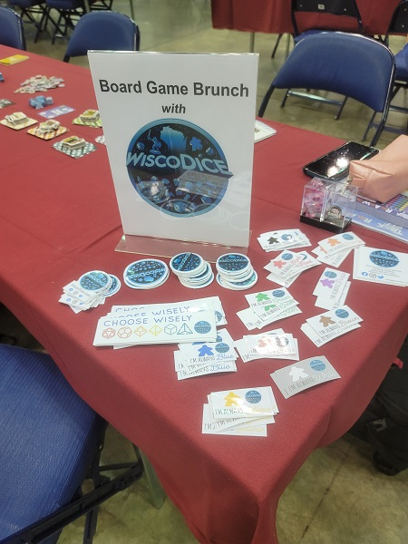 image of WiscoDice stickers at Board Game Brunch
